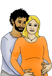Illustration of a pregnant woman and a man, holding each other.