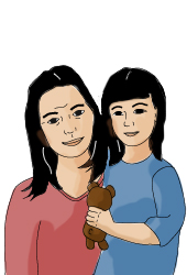 Illustration of a mother and her daughter.