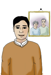 Illustration of a man. Next to him hangs a picture of an older couple.